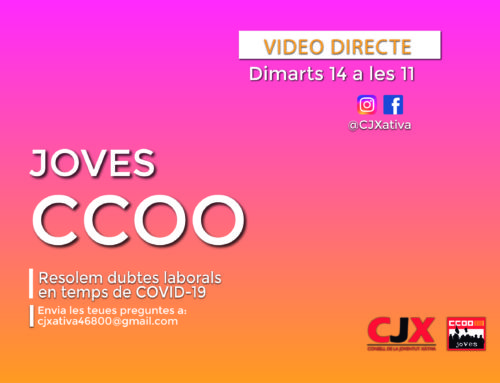 El pròxim dimarts Joves de CCOO resolen dubtes laborals en temps del COVID-19