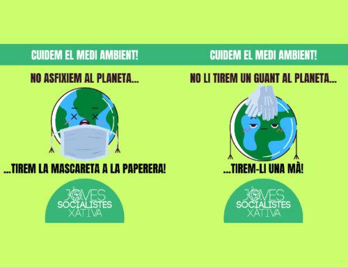 Joves Socialistes de Xàtiva fa una crida a la responsabilitat en el desús de materials de protecció