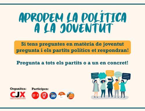 """El CJX llança la campanya """"Apropem la Política a la Joventut"""" #ApropemlaPolítica"""
