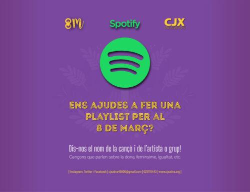 🎶 Playlist Spotify #8M – Ajuda'ns a fer una llista de cançons per al 8 de març! ⬇️