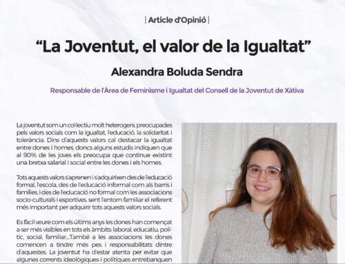 """""""La Joventut, el valor de la Igualtat"""" Alexandra Boluda – Article d'Opinió"""