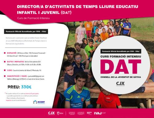 """El CJX organitza el Curs (DAT) """"Directror/a d'Activitats de Temps Lliure"""" intensiu al mes de Juliol"""